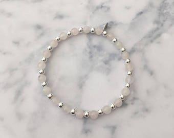 Sterling Silver and Rose Quartz gemstone stretch stack bracelet