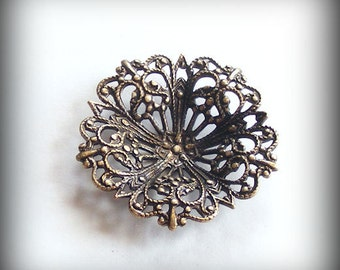 1 pc Heirloom Quality Ornate Brass Ox Filigree Focal Round 29mm 4779-TCRB