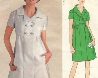 1960s Teal Traina Womens One Piece Dress Empire Waist Vogue Sewing Pattern 1985 Size 12 Bust 34 Vintage Vogue Americana Pattern