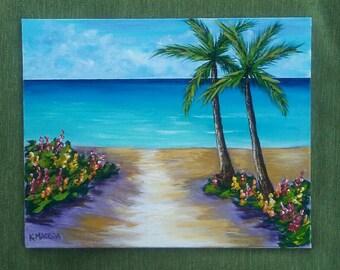 Tropical Beach 8x10 acrylic painting