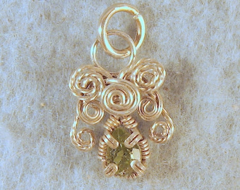 Peridot Angel in Argentium Sterling Silver Wire Wrapped Pendant Number 5 of 500
