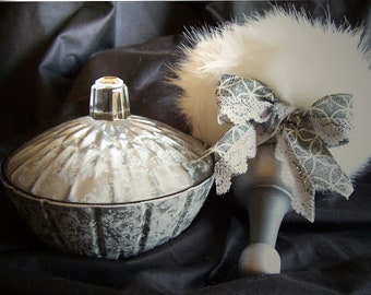 Lovely Powder Bowl Set - Weathered with Antiqued Silver Finish with Puff Wand
