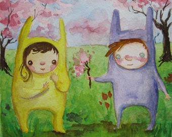 Original Watercolor Painting - Springtime Friends In Bunny Suits - Love - Sweetness