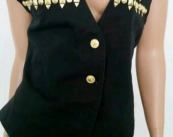 Vintage gold studded vest with lace up back