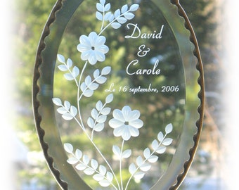 Personalized Wedding Anniversary or Birthday Clear Oval Glass Bevel Suncatcher,  Personalized glass suncatcher,  personalized hanging, C110
