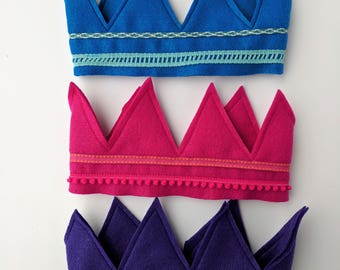 Felt Crowns in a Variety of Colors and Sizes for Kids