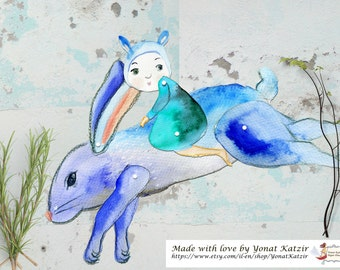 Make your own puppet, Blue rabbit, PDF paper puppet, woodland puppets, diy puppet, puppet artwork, rabbit illustration, Last minute gifts