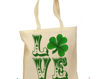 Irish LOVE Tote - Irish Gift Bag - Tote St. Patrick - Girl Dance Irish - Shamrock Canvas Tote - Personalized Tote Retro Gift Canvas Vintage