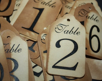 Table Number Tags 2 7/8 x 5 1/4  Option to choose your quantity