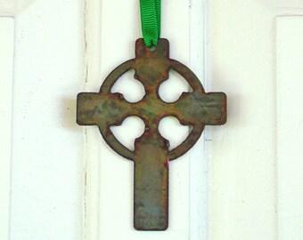 Rustic Celtic Cross Ornament by WATTO Distinctive Metal Wear / Irish / Celtic / Housewarming Gift / Christmas Ornament / House Gift