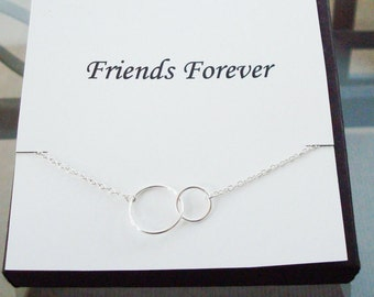 Double Circle Infinity Link Silver Necklace ~~Personalized Jewelry Gift Card for Friend, Best Friend, Sister, Bridal Party, Graduation