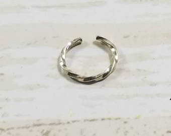 Twisted Square Wire Sterling Silver Ear Cuff or Fake Nose Ring Body Jewelry