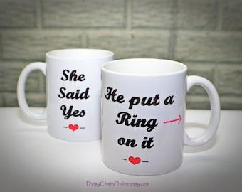 Engagement Gift Personalized Mug, He put a Ring on it Coffee Mug, Bridal shower gift, Ceramic Coffee mug Newly Engaged Gift Bride to Be Gift