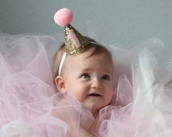 Pink and Gold First Birthday Party Hat, Party Hat, First Birthday Hat, Cake Smash Hat, Cone Hat, Pom Pom Hat, Baby Birthday Headband