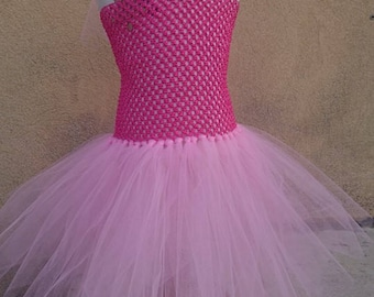 Princess tutu dress pink and blush with flower headband