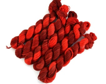 Mini Skeins, Hand Dyed Yarn, Sock Weight, Superwash Merino Yarn, knitting yarn, Sock Yarn Mini, Merino nylon sock yarn, red - Marinara