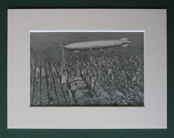 1930s Antique Dirigible Print, Zeppelin Wall Art, Retro New York Decor, Available Framed, NYC Art, Old Airship Picture, Skyscraper Gift
