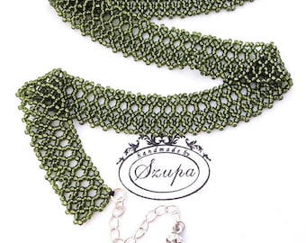 Green beaded necklace, lace necklace, seed bead jewelry, bib necklace, short necklace, beaded jewelry, braided necklace, green neclace, gift