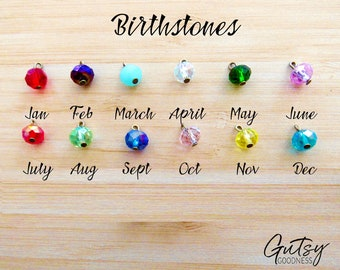 Add Birthstone Charms to Your Gutsy Goodness Necklace or Keychain Personalized Birthstone Jewelry for Mom or a Necklace for Grandma