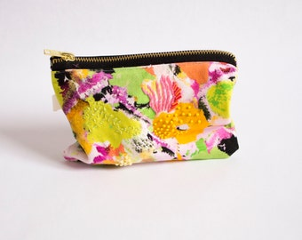 Juno D, Digitally Printed and Hand Embroidered, Silk Lining, Zipper Pouch, Zip Bag, Make up bag, Purse