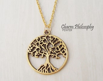 Gold Tree of Life Necklace - Large Antique Gold Tree Pendant - Golden Tree Charm