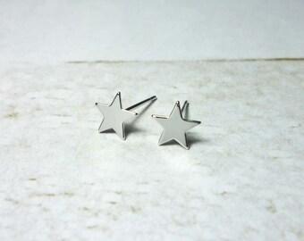 Silver Star Stud Earrings, Dainty Star Earrings