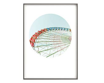 Ferris Wheel, Wall Art Prints, Printable Art, Circle Print, Geometric Print, Photo Printable, Art Decor, Carnival Art