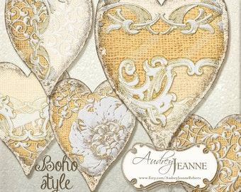 INSTANT DOWNLOAD Vintage Digital Collage Sheet Heart shaped hang tags AJR-B002T Burlap and Lace Bohemian Style Boho Antique Laces Ephemera