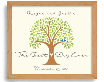 Best Day Ever Wedding Date Sign Personalized Wedding Day Gift Wedding Tree Lovebirds Wedding Gift for Couples Romantic Gift Love Tree