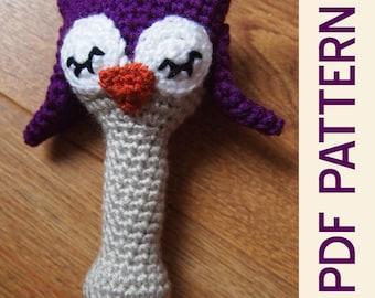 Amigurumi Crochet Sleepy Owl Woodland Baby Rattle Pdf Pattern