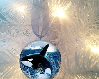 Orcas #5 Whale Christmas Tree Ornament