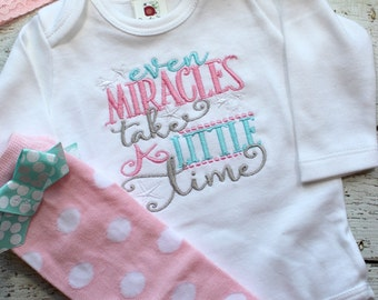take home outfit for girls, newborn photo outfit, Miracles Take Time, rainbow baby gift