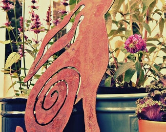 Moongazing Hare plasma cut rusty