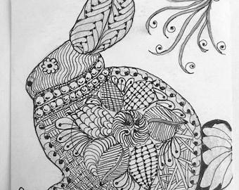 Original Artwork Tangle Rabbit