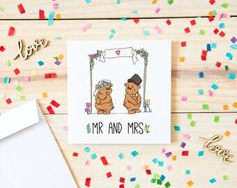 Wedding Card, Mr and Mrs Wedding Card, Illustrated Wedding Card