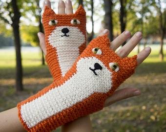 Fox Fingerless Gloves (Orange) ~ Handmade