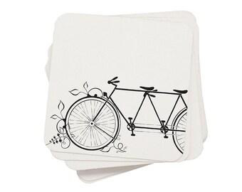 Eco Coasters Bicycle Letterpress - Tandem Bike Recycled