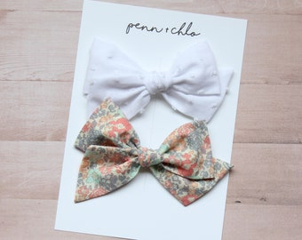Large Pinwheel set of 2 || Camdyn & Abigail bow || alligator clip or nylon headband