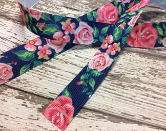 7/8 Grosgrain Ribbon in Navy and Pink Floral Print - Floral Ribbon - Rose Ribbon - Girly Ribbon