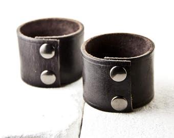 Women's Bracelet Black Leather Jewelry Snap Cuff Unique Presents
