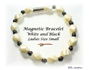 Magnetic Bracelets, Pearl White and Black Magnetic Bracelet, Ladies Small Bracelet - MB24