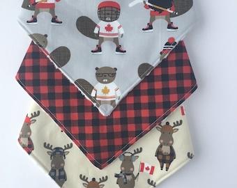 Oh Canada Baby Gift Set - Bandana Bib Set - Hockey Beavers Bib - Baby Bandana Bib Set -  Bib Set - Drool Bib Moose Bib - Gender Neutral Bib