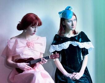 SUPER SALE - Peach Tulle dress Brocade Princess Dress - Pink salmon full skirt Prom dress size XS, girls dress, Party dress