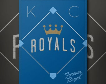 Kansas City Royals Forever Royal Retro Inspired Baseball Poster - 2015 Slogan