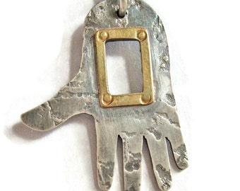 Window Hand Pendant Sterling and Brass