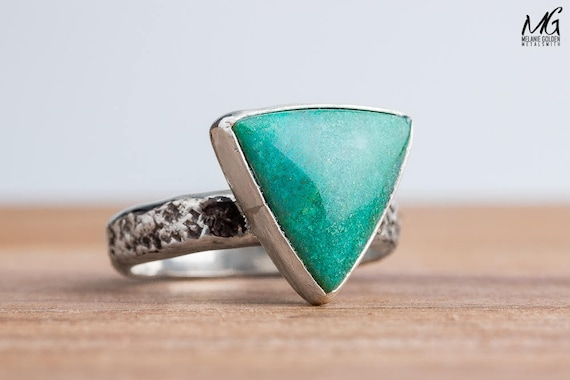 Blue Green Chrysocolla Gemstone Ring in Sterling Silver - Size 8
