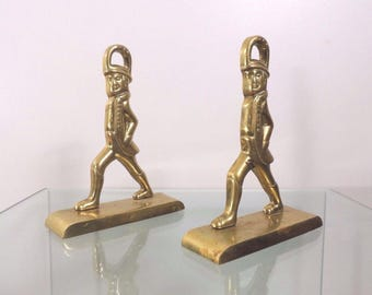 Vintage Pair of Solid Brass Soldier Doorstop Patina Bookends by Virginia Metalcrafters