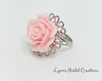 Pink Adjustable Ring Resin Rose Ring Bridesmaid Ring Gift Flower Girl Gift Pretty Flower Ring Pink Rose Jewelry Pink Wedding Accessory
