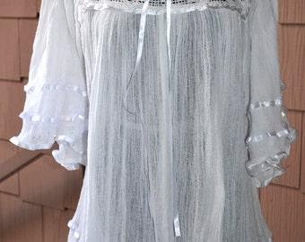 Mexican Gauze Sheer Crochet Lace Bell Kimono Drape Gypsy Dress Top