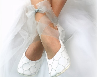 Wedding Satin Ballet Slippers in Silver with Sheer Ankle Ties